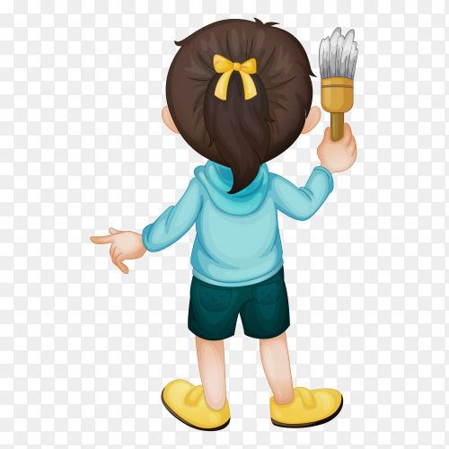 Cute girl holding paint brush on transparent background PNG