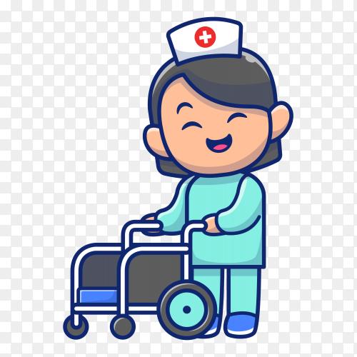 Cute nurse icon illustration on transparent background PNG