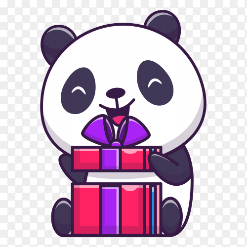 Cute panda opening birthday on transparent background PNG