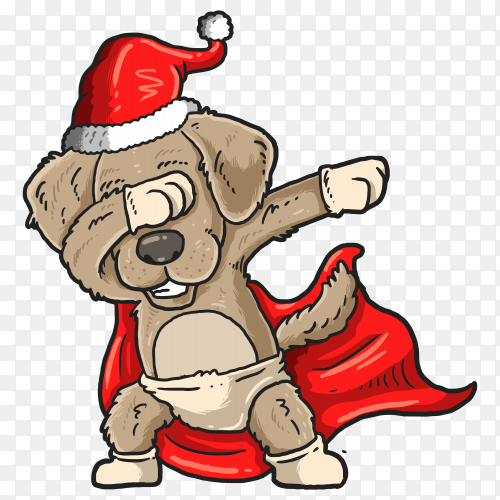 Cute pug dabbing dance illustration graphic on transparent background PNG