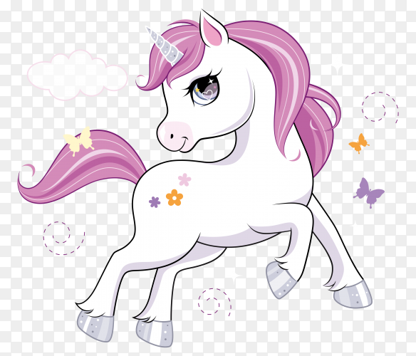 Cute unicorn cartoon on transparent background PNG