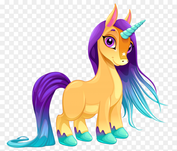 Cute unicorn isolated on transparent background PNG
