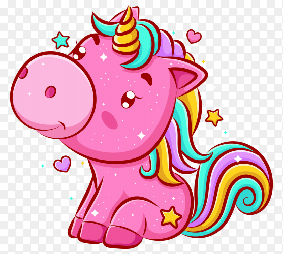 Cute unicorn sitting and smiling on transparent background PNG