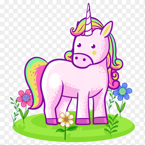 Cute unicorn standing on a flower meadow on transparent background PNG