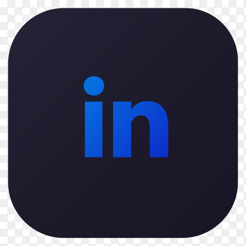 Dark themed LinkedIn application icon design Clipart PNG