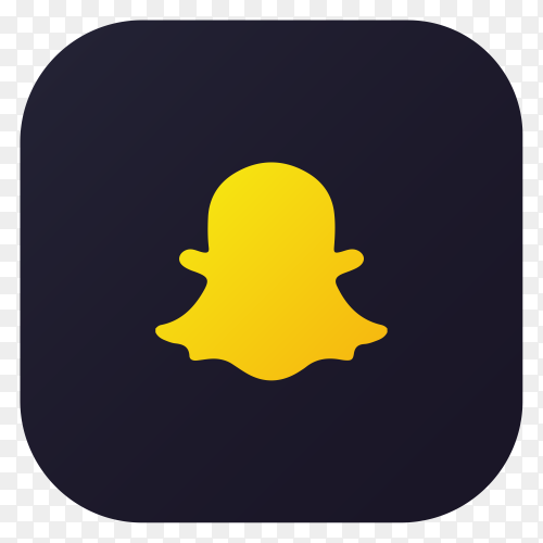 Dark themed Snapchat application icon design on transparent background PNG