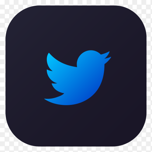 Dark themed Twitter application icon design on transparent PNG