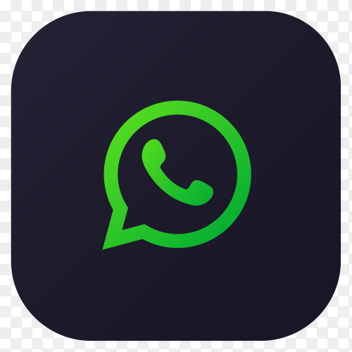 Dark themed Whatsapp application icon design on transparent PNG