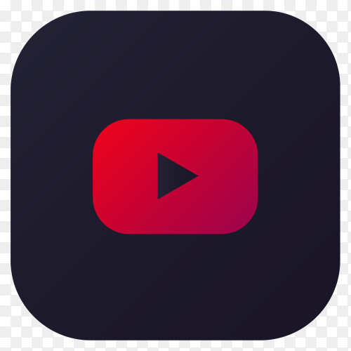 Dark themed Youtube application icon design on transparent background PNG