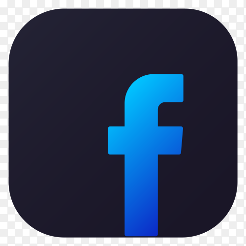 Dark themed Facebook application icon design on transparent background PNG