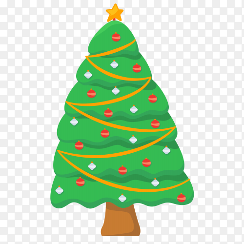 Decorated Christmas tree Premium vector PNG