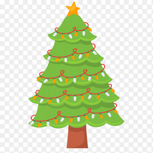 Decorated Christmas tree on transparent PNG