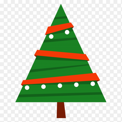 Decorated Christmas tree on transparent background PNG