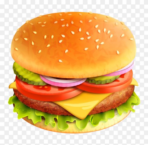 Delicious burger illustration on transparent background PNG