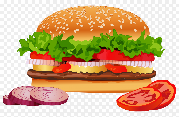 Delicious burger with variety of ingredients on transparent background PNG
