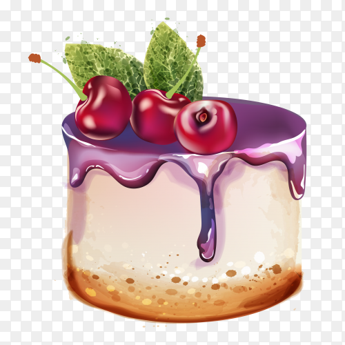 Delicious cake with a cherry on the top on transparent background PNG