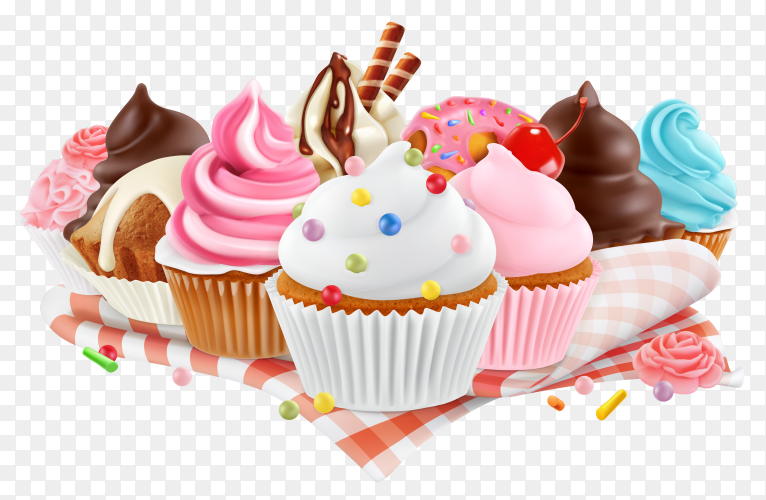 Delicious cupcakes illustration on transparent background PNG
