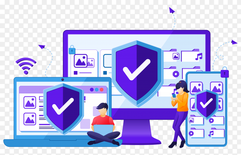 Device security concept, people on giant gadget device with shield. website landing page template Clipart PNG