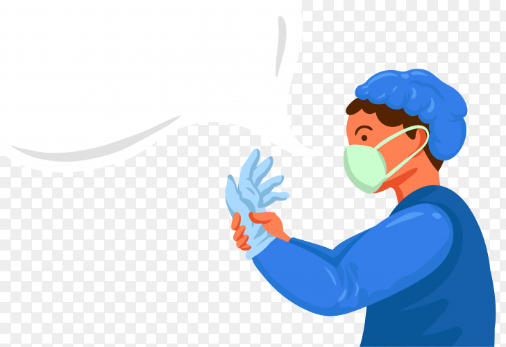 Doctor wearing medical face mask and gloves on transparent background PNG