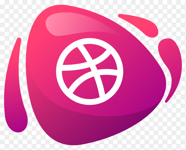 Dribble logo in gradient colors on transparent background PNG
