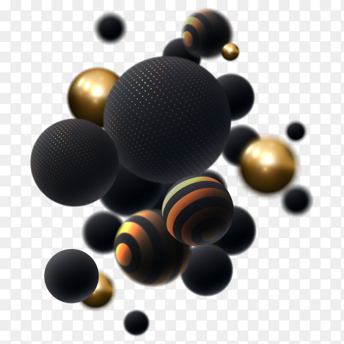Dynamic 3d spheres isolated premium vector PNG