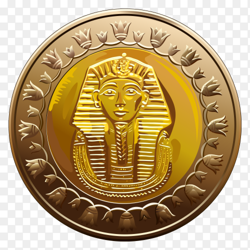 Egyptian coin featuring pharaoh  premium vector PNG