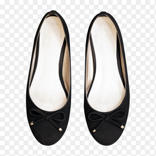 Elegant black shoes for women on transparent background PNG