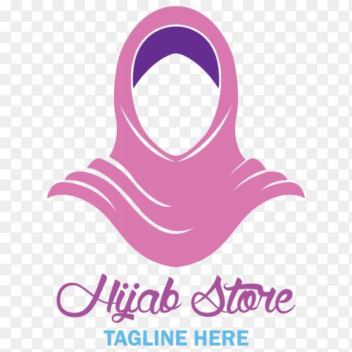 Elegant hijab logo on transparent background PNG
