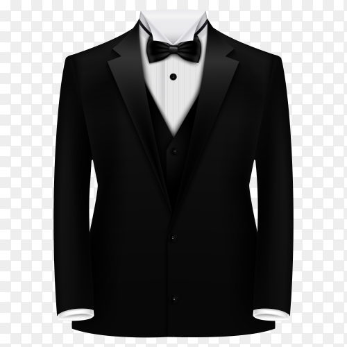 Elegant suit in black color with tie and white shirt premium vector PNG