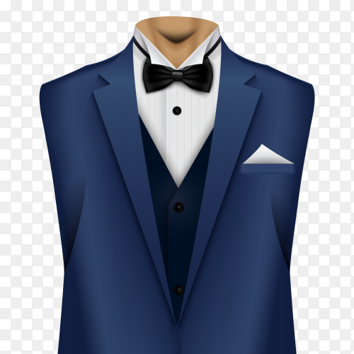 Elegant suit in blue color with tie and white shirt on transparent background PNG