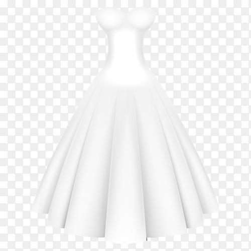 Elegant white dress premium vector PNG