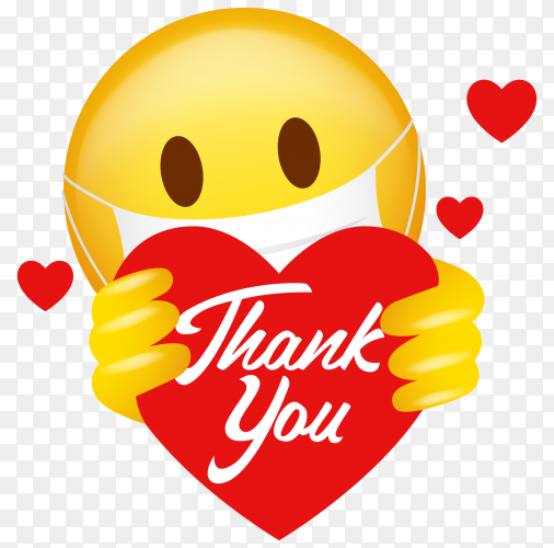 Emoticon wearing medical mask holding heart symbol with thank you message on transparent background PNG