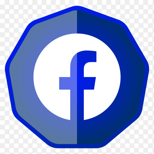 Facebook icon button design on transparent background PNG