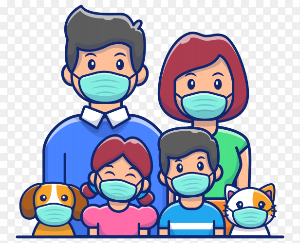 Family wear mask icon illustration on transparent background PNG