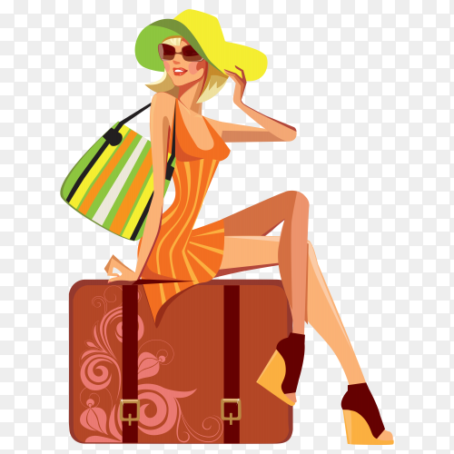 Fashion girl with orange dress on transparent PNG
