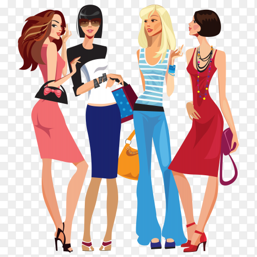 Fashion models character on transparent background PNG