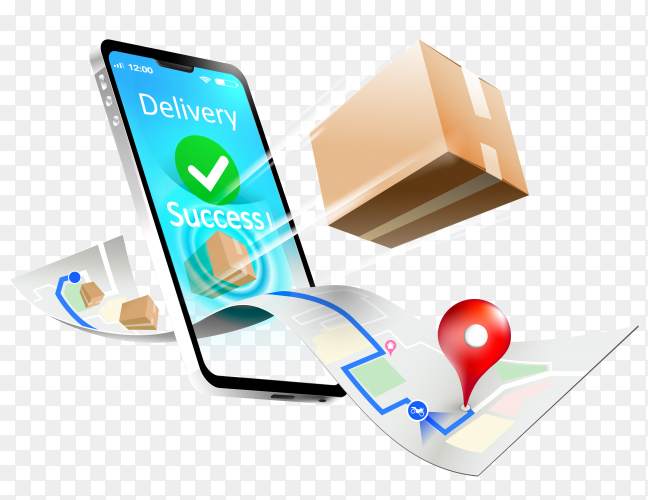Fast respond delivery package shipping on mobile smartphone on transparent background PNG