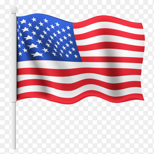 Flag of united states of America on transparent background PNG