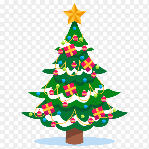 Flat design Christmas tree on transparent background PNG