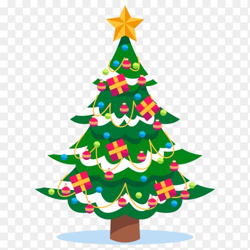 Flat design Christmas tree on transparent background PNG