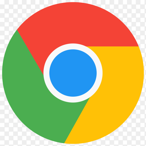 Flat design google chrome logo clipart PNG