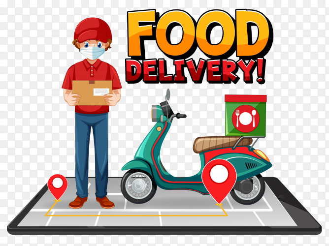 Food delivery logo with bike man on transparent background PNG