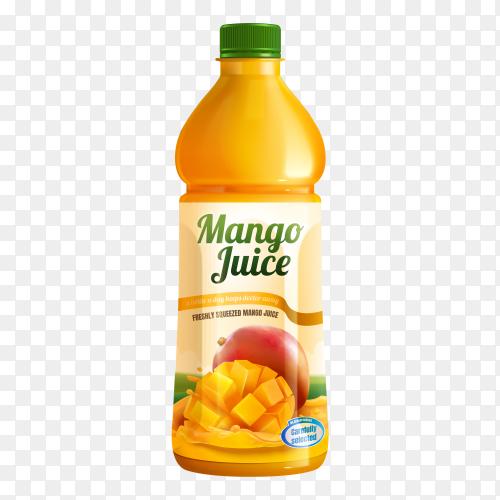 Fresh manga juice bottle on transparent background PNG