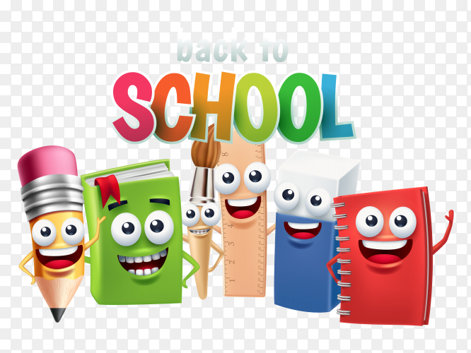 Funny school supply cartoon character, back to school concept on transparent background PNG