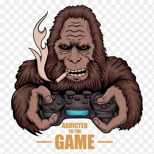 Game addicted bigfoot on transparent PNG