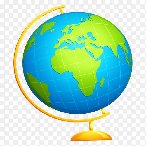 Globe illustration on transparent backgroudn PNG