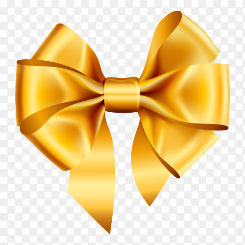 Golden bow in realistic style premium vector PNG