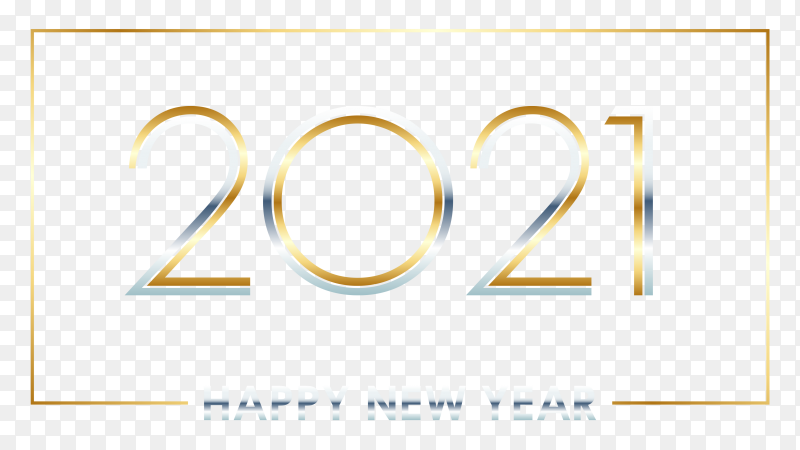 Golden happy new year 2021 on transparent background PNG