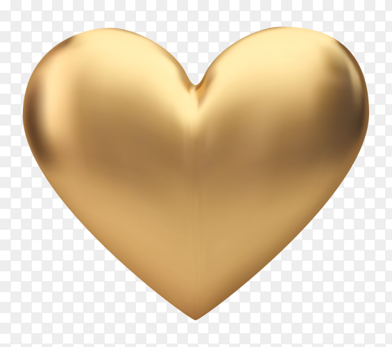 Golden heart isolated on transparent background PNG