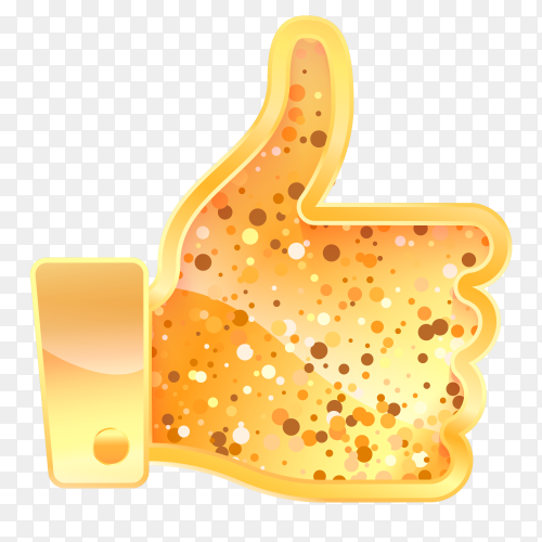 Golden like sign. hand with finger up social media symbol on transparent background PNG